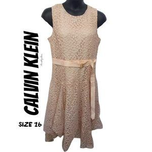 Calvin Klein fit-and-flare floral lace dress